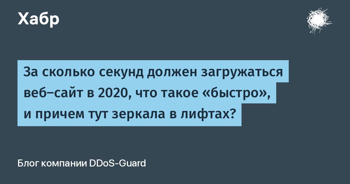 За сколько секунд должен загружаться веб-сайт в 2020, что такое «быстро», и причем тут зеркала в лифтах?